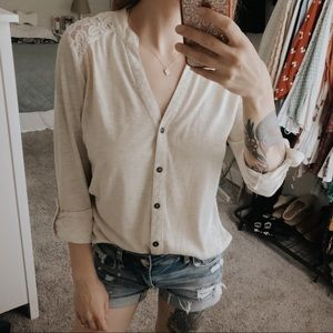 Lace inset button down